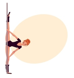 Young pole dance woman in black leotard doing hand vector image vector image