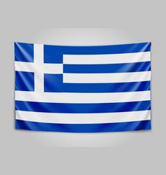 hanging flag of greece hellenic republic greek vector image