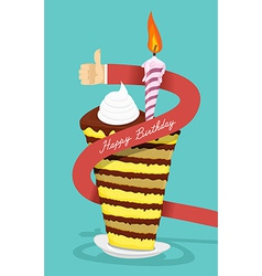 Happy birthday cake Greetings from a man The hand vector image vector image