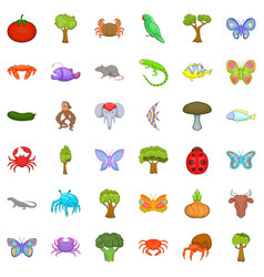 nature world icons set cartoon style vector image