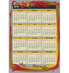 new year 2012 calendar vector image vector image