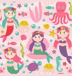 seamless pattern pink with mermaid vector image vector image