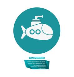 Submarine periscope underwater trasnportation vector