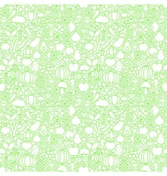 Thin Line Fresh Fruits Vegetables White Seamless vector image vector image