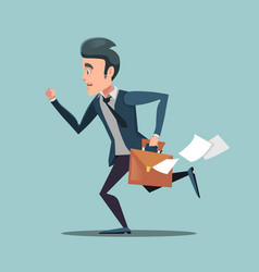 businessman with briefcase late to work vector image
