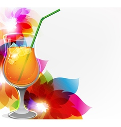 Cocktail and flowers vector image vector image