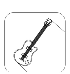 square shape with silhouette electric guitar vector image vector image