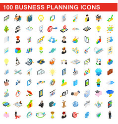 100 business planning icons set isometric style vector