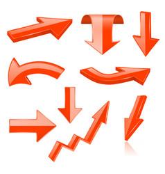 3d arrows orange signs and symbols vector image