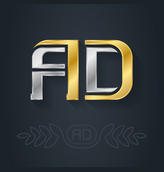 a and d - initials or logo ad - metallic 3d icon vector image