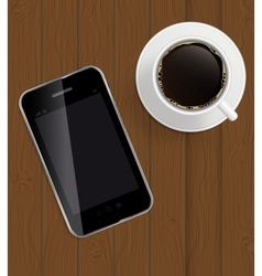 Abstract design phone coffee on boards Background vector image