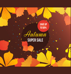 Autumn super sale background with colorful vector