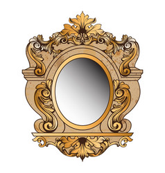 Baroque golden mirror frame round decor vector