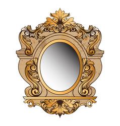 baroque golden mirror frame round decor vector image