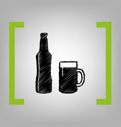 beer bottle sign black scribble icon in vector image vector image