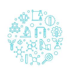 biological chemistry round outline blue vector image