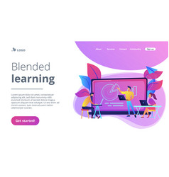 blended learning landing page vector image