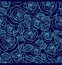 Blue outline roses seamless pattern vector