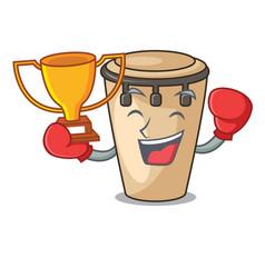 Boxing winner conga mascot cartoon style vector