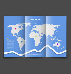 Brochure with world map vector