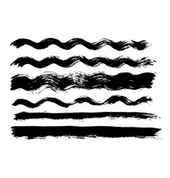 Brush stroke bundle textured paintbrush vector
