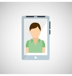 Cellphone icon with man character design vector