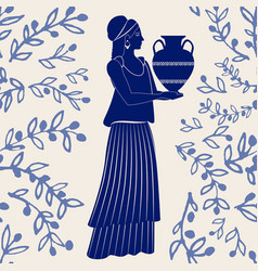 Ceramic tile ancient greece girl carrying vector