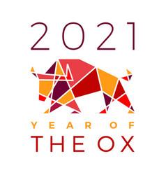 Chinese new year 2021 ox bull geometric polygonal vector