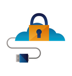 cloud computing security data cable vector image