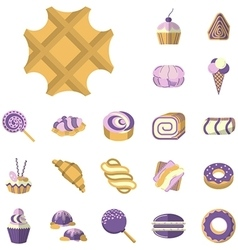Colored icons for desserts vector image