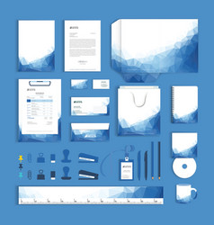Corporate identity design template with blue vector