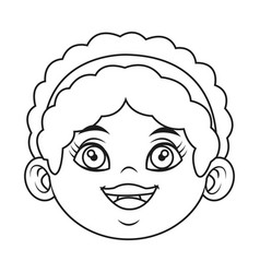 Cute cartoon girl laugh face expression vector
