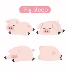 cute sleeping pig cartoon set vector image