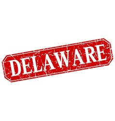 Delaware red square grunge retro style sign vector