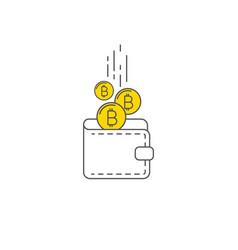 Digital gold bitcoin wallet concept vector