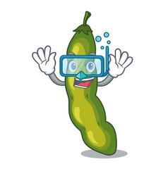 Diving vegetables pod green bean in cartoon vector