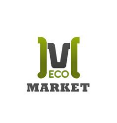 eco market emblem vector image