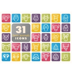 Farm animals icons set head vector image