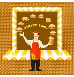Fast food card with young cook seller and vector