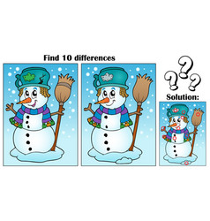 Find differences theme with snowman vector