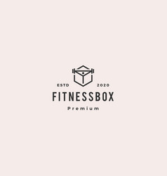 Fitness box logo hipster vintage retro icon vector