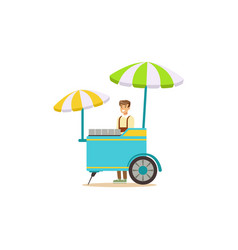 Flat street food cart with umbrella vector