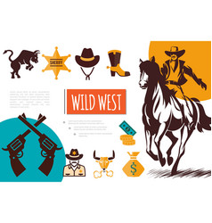 Flat wild west composition vector