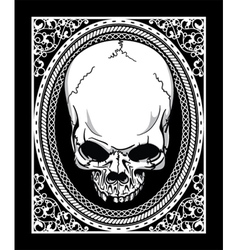 Frame with skull retro t-shirt design vector