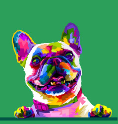 French bulldog in pop art colors isolated on vector