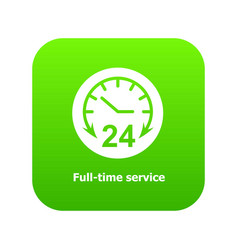 Full time service icon green vector