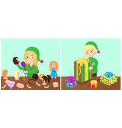 girl and boy happy presents vector image