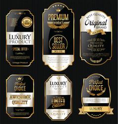 Golden sale labels retro vintage design vector