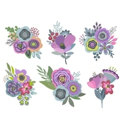 graphic set with beautiful floral bouquets vector image