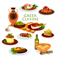 Greek cuisine healthy lunch dishes cartoon icon vector